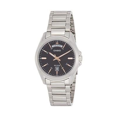 腕時計 カシオ メンズ MTP1370D-1A2 Casio Men's Silver-Tone Steel Black Dial