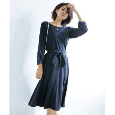 楽ちんカットソーワンピース見えセットアップ(前後2WAYTブラウス+リボンスカート) (ワンピース)Dress
