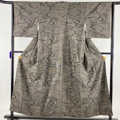 紬 秀品 花 流水 焦茶色 袷 身丈155cm 裄丈64.5cm M 正絹 中古