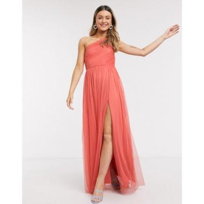 アナヤ マキシドレス レディース Anaya With Love one shoulder ruched maxi dress in orange エイソス ASOS オレンジ