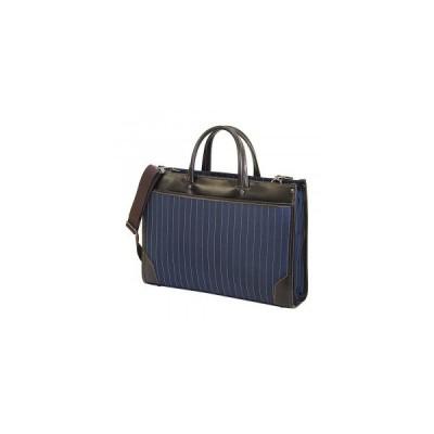 LINAGINO タイプDJ ストライプW ブリーフケース 22-5304 ネイビーブルー