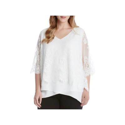 レディース 衣類 トップス Karen Kane Womens Plus Lace Scalloped Blouse Ivory 1X ブラウス&シャツ