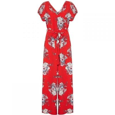ユミ Yumi レディース オールインワン ジャンプスーツ ワイドパンツ ワンピース・ドレス Blossom Pattern Wide Leg Jumpsuit Red
