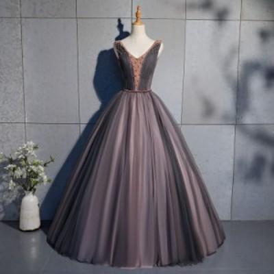 ロングドレス 演奏会 ドレス ロング ステージ カラードレス ビジュー ウエディングドレス 半袖 ノースリーブ ロングドレス