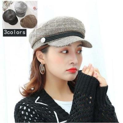 帽子 レディース ベレー帽 ハット キャスケット イギリス風 ウール混 サイズ調整可 グレンチェック  つば広 ファッション   小顔効果