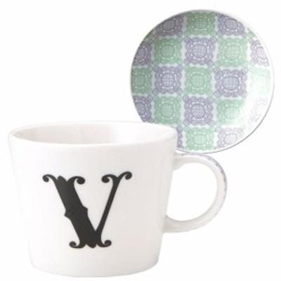 取寄品 イニシャル マグカップ&小皿 ギフトセット アルファベット プレート付マグカップ V 東欧風日本製 誕生日ギフト