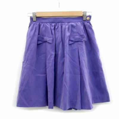 【中古】ミニマム MINIMUM スカート ギャザー フレア ミニ丈 リボン 2 パープル 紫 /MS32 レディース