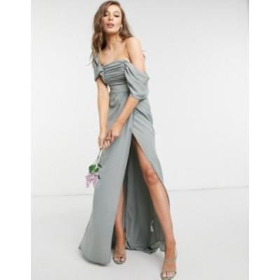 エイソス レディース ワンピース トップス ASOS DESIGN Bridesmaid drape bodice maxi dress with fallen shoulder and button back deta