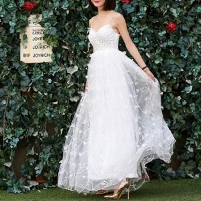ウェディングドレス 大きいサイズ ウェディングドレス 白 二次会 花嫁 刺繍 レース キャミソール ミドルウエスト 小さいサイズ 結婚式