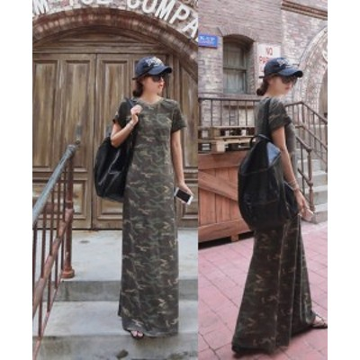 マキシワンピース 夏 迷彩 カットソーワンピース カモフラージュ 韓国 ファッション 夏服 レディース 半袖 カモフラ マキシワンピ tシャ