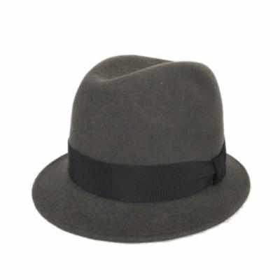【中古】カシラ CA4LA 中折れ ハット 帽子 メルトン リボン チャコールブラウン/6$12 メンズ レディース