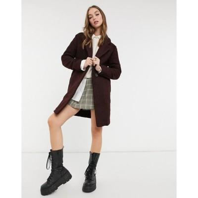 ニュールック レディース コート アウター New Look teddy boucle tailored coat in burgundy