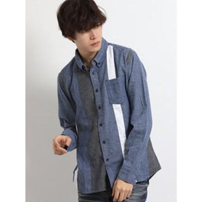 コットン起毛タテ切替レギュラーカラー長袖シャツ