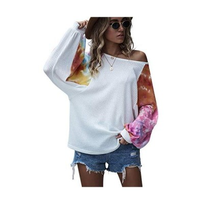 feelycc Womens Blouses Embrodiery Batwing Sleeve Off Shoulder Solid Casual