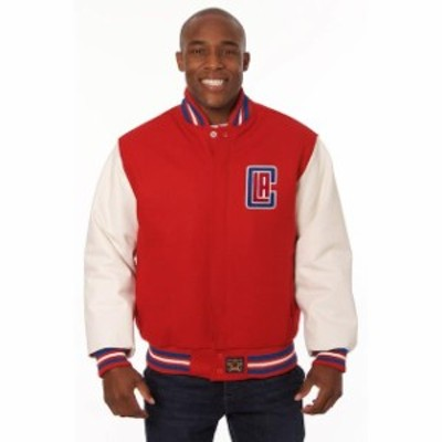 JH Design ジェイエイチ デザイン スポーツ用品  JH Design LA Clippers Red Domestic Two-Tone Wool and Leather Jacket