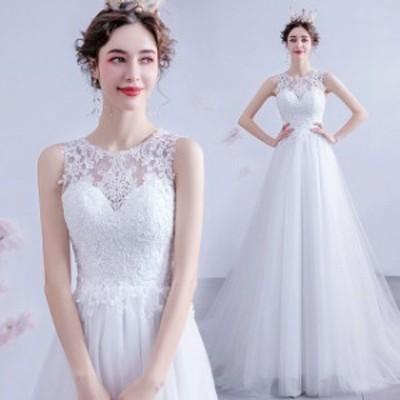 ノースリーブ ウェディングドレス トレーン ホワイトドレス 結婚式 花嫁 ブライダルドレス 背開き 優雅 エレガント 披露宴 二次会ドレス