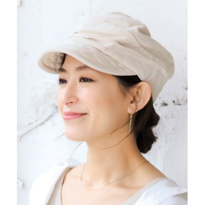 14+(ICHIYON PLUS) / タック寄せ麻キャスケット WOMEN 帽子 > キャスケット