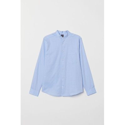 H&M - プレミアムコットン グランドファーザーシャツ - ブルー