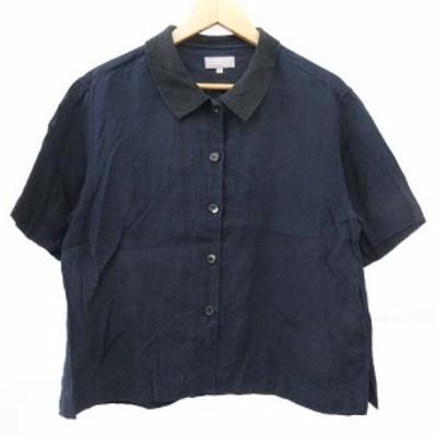 【中古】マーガレットハウエル MARGARET HOWELL リネン シャツ 半袖 シルク衿 1 紺 ネイビー NVW R080316 レディース