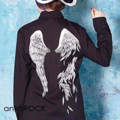 ankoROCK アンコロック シャツ メンズ ブラウス レディース ユニセックス スリム 細身 プリント 柄シャツ 折れた翼