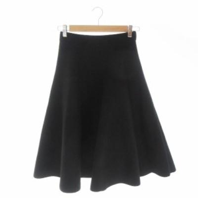 【中古】ルシェルブルー LE CIEL BLEU スカート フレア サーキュラー ロング ミモレ ストレッチ 36 黒 ブラック