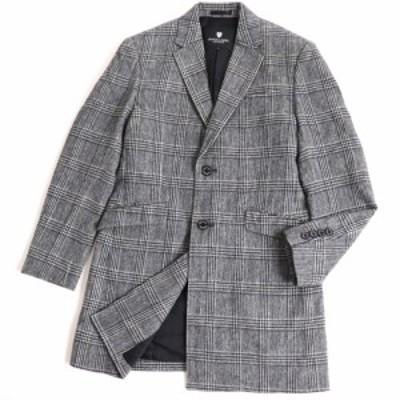 極美品▽ブラックレーベルクレストブリッジ 51B01-200-05 チェック 裏地ロゴ柄 ウール チェスターコート グレー M 正規品 メンズ