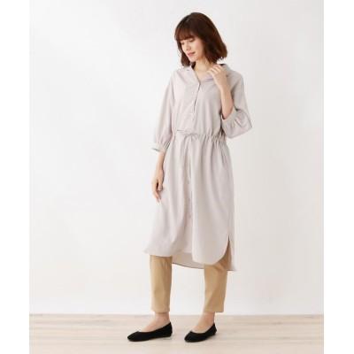 SHOO・LA・RUE/Mrs.(シューラルー/ミセス) オープンカラー七分袖シャツワンピース