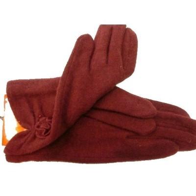 レディースファッション 手袋 秋冬モデル 婦人アンゴラ混手袋 サービス品  ワイン 004番
