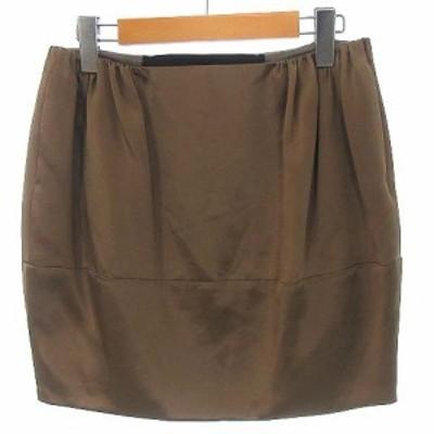 【中古】ドゥロワー Drawer タイト ミニ スカート シルク 絹100% ブラウン 茶 36 ●IBS88 レディース