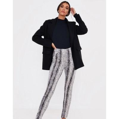 インザスタイル レディース カジュアルパンツ ボトムス In The Style x Lorna Luxe skinny pants in faux snake print