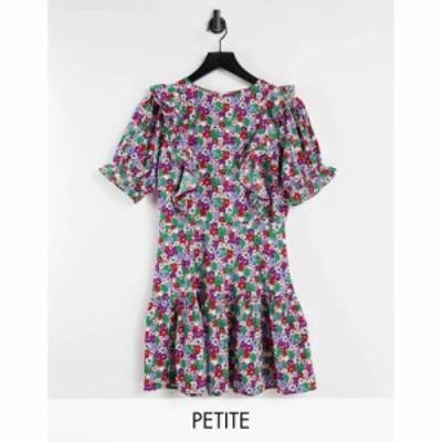 インフルエンス Influence Petite レディース ワンピース ミニ丈 ワンピース・ドレス floral mini dress with frill front マルチカラー