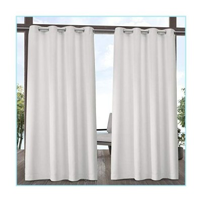 新品Exclusive Home Curtains Indoor/Outdoor Solid Cabana Grommet Top Curtain Panel Pair, 54x96, Vanilla