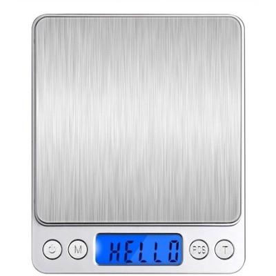 Angeno デジタルスケール 電子天秤 0.01g500gまで精密な計量器 風袋引き機能付き 料理用電子はかり お菓子作り用 (シルバー)