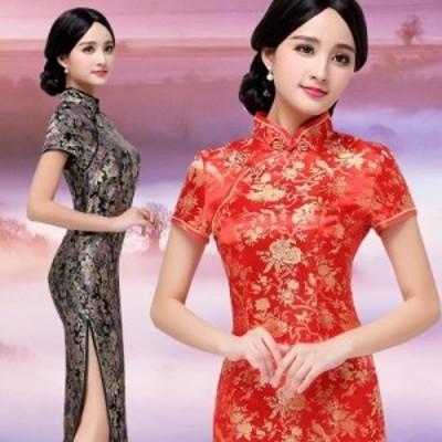 [Romance衣装] 改良チャック用着替えしやすい上質感あふれるチャイナドレス 服 チャイナドレス コスプレ蝶々柄龍鳳柄牡丹柄繁花柄 チャ