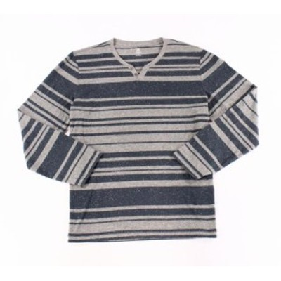 HEATHER  ファッション アウター INC Mens Heather Gray Blue XL Long Sleeve Split Neck Stripe Henley Shirt #044