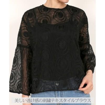 「cawaii french」ブラウス オーバーシルエット 大きめ 長袖 透け感 刺繍 ブラック ホワイト