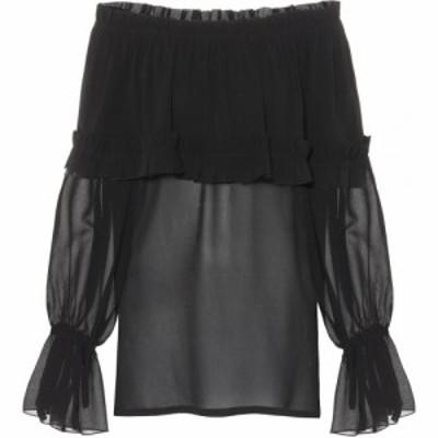 イヴ サンローラン Saint Laurent レディース ブラウス・シャツ トップス Silk georgette blouse Black