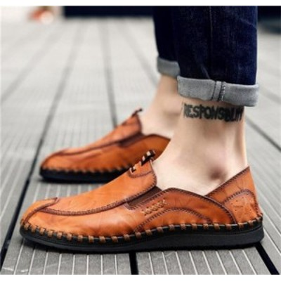 ローファー メンズ スリッポン 革靴 ビジネスシューズ ドライビング手作り 紳士靴 デッキシューズ 通気 滑り止め 欧米風