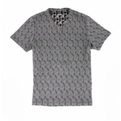 Alfani  ファッション トップス Alfani NEW Black Mens Size Large L Exploded Geometric V Neck Tee Shirt