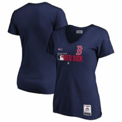 Majestic マジェスティック スポーツ用品  Majestic Boston Red Sox Womens Navy Authentic Collection V-Neck T-Shirt