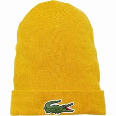 ラコステ Lacoste メンズ ニット ビーニー 帽子 Big Croc Beanie Plum Yellow