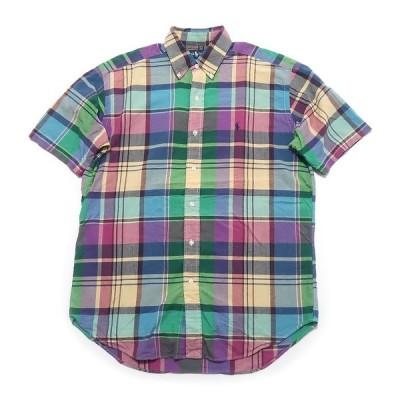 ポロラルフローレン ラルフローレン ワンポイント ロゴ ボタンダウン 半袖 チェックシャツ サイズ表記:M