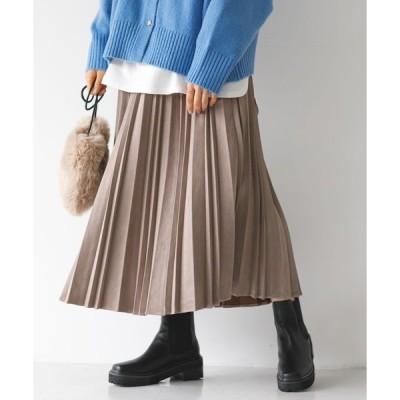 スカート 【2020AW】フェイクスエードスカート/変形アコーディオンプリーツスカート○