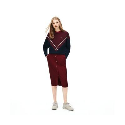 LACOSTE/ラコステ ストレッチコットンサージミドル丈スカート バーガンディー 40(XL)