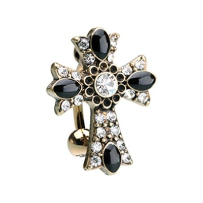 Golden Antique Cross Drop Top Reverse WildKlass Belly Button Ring (Cle