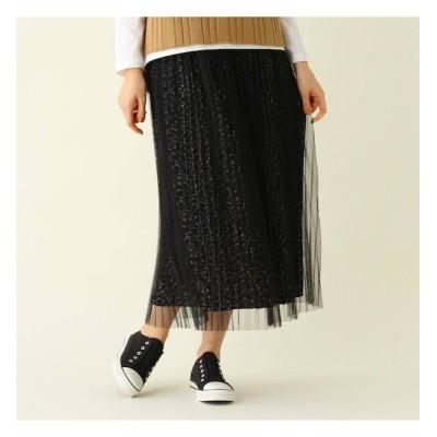 【シューラルー/SHOO・LA・RUE】 【S-L】プリーツチュール花柄スカート