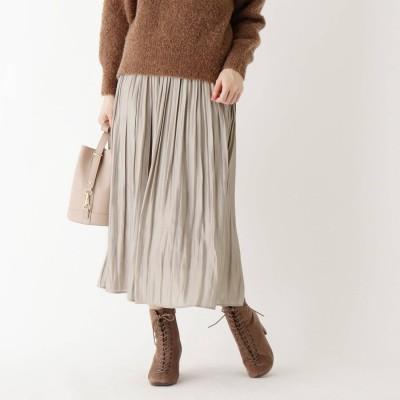 インデックス INDEX 割繊シャイニーサテンワッシャープリーツスカート【WEB限定サイズ】 (ライトベージュ)