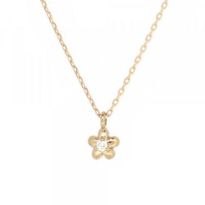 一粒 ゴールドネックレス(チェーン付きペンダント) 花 花びら フラワー 18金 ピンクゴールド ダイヤモンド