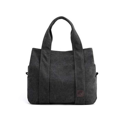 Canvas Handbag for Women Student School Teacher Fabric Leisure Top-handle Bag for Teenager Big Tote Bag Black 並行輸入品