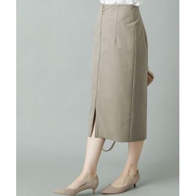 【《通勤用人気No1スカート》手洗い可】エコスウェードジップスカート